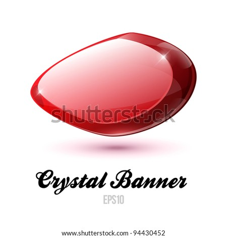 Crystal Shiny Glass Rock Banner Red EPS10
