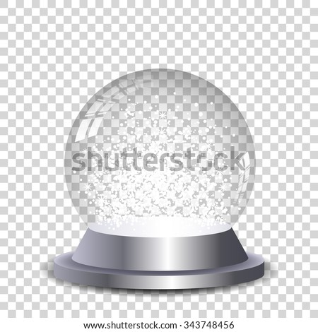 Crystal snow globe transparent and isolated. Vector eps10.