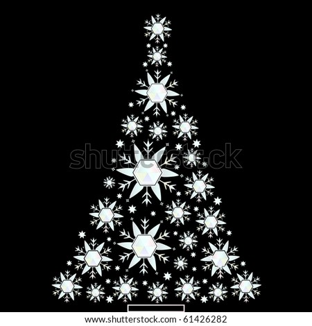 crystal snowflake christmas tree - stock vector