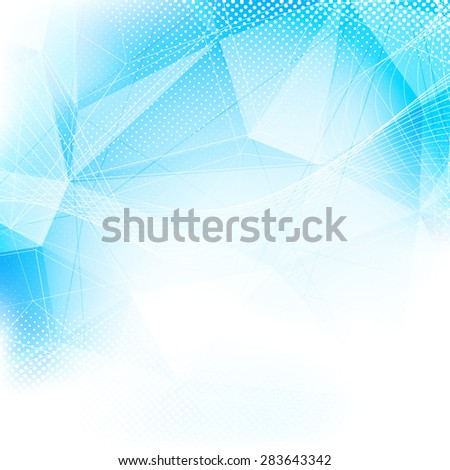 Crystal structure modern abstract blue layout dotted swoosh line pattern background. Vector illustration - stock vector