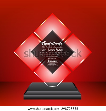 Crystal trophy certificate design template on red background. - stock vector