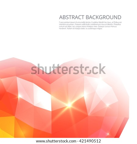 Crystall red heart abstract background - stock vector