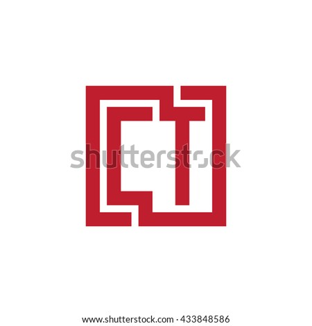 CT initial letters looping linked square logo red