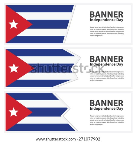 cuba Flag banners collection independence day - stock vector