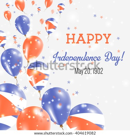 Cuba Independence Day Greeting Card. Flying Balloons in Cuban National Colors. Happy Independence Day Cuba Vector Illustration.