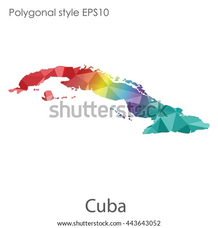 Cuba map in geometric polygonal style.Abstract gems triangle,modern design background. Vector illustration EPS10