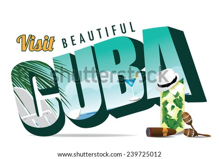 Cuba retro postcard typography EPS 10 vector stock illustration - stock vector