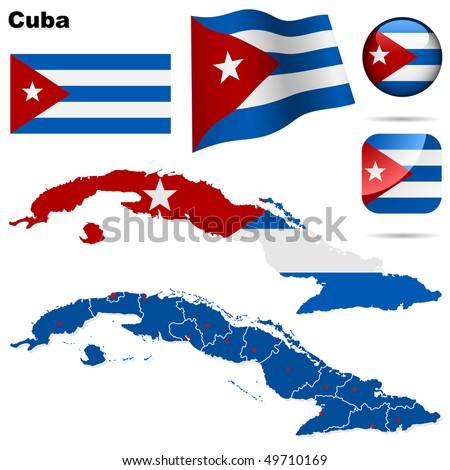 Cuba vector set. Detailed country shape with region borders, flags and icons isolated on white background. - stock vector