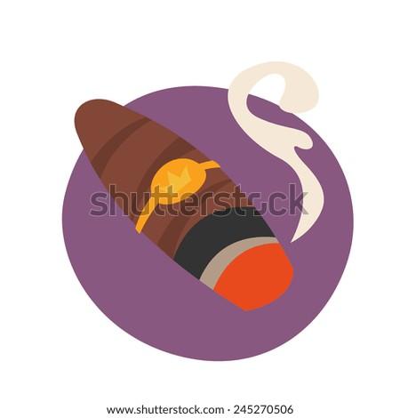 Cuban cigar, cartoon flat style, color vector art illustration icon. - stock vector