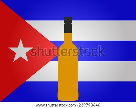 Cuban Flag with a Bottle of Rum EPS10 - stock vector