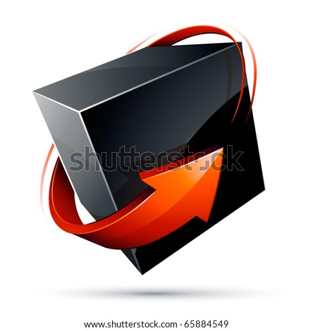 Cube and red arrow - stock vector