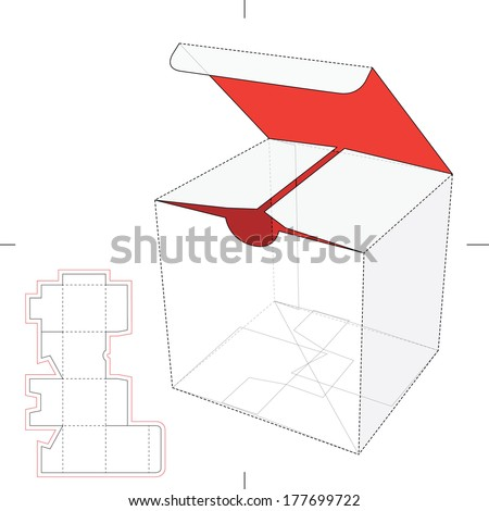 Cube Box with Die-cut Layout - stock vector