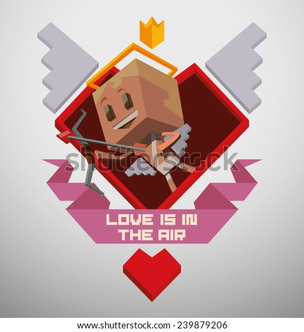 Cube Cupid Emblem, vector - stock vector