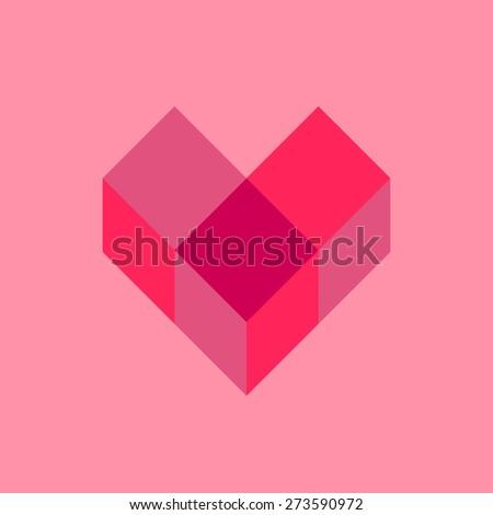 cube heart. - stock vector