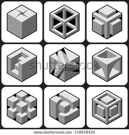 cube icons set 1 - stock vector