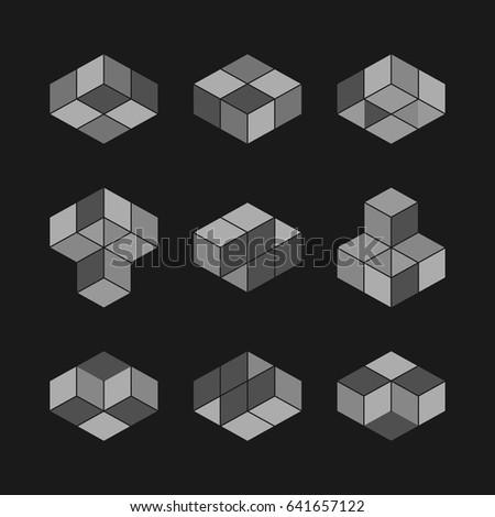 3d Cube Logo Design Pack Stock Vector 111880505 Shutterstock