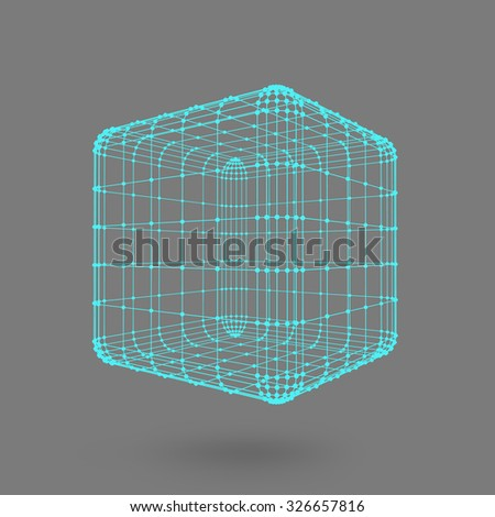 Cube of lines and dots. Cube of the lines connected to points. Molecular lattice. The structural grid of polygons. Black background. The facility is located on a black studio background - stock vector