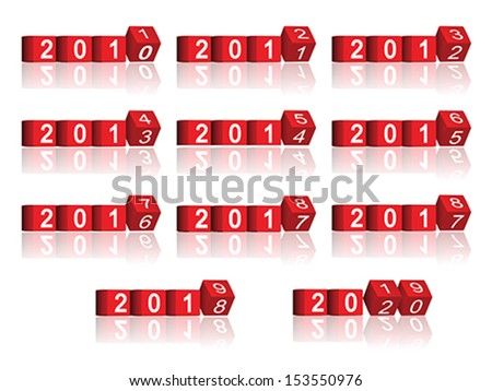 cube passing years 2011-2020, vector - stock vector