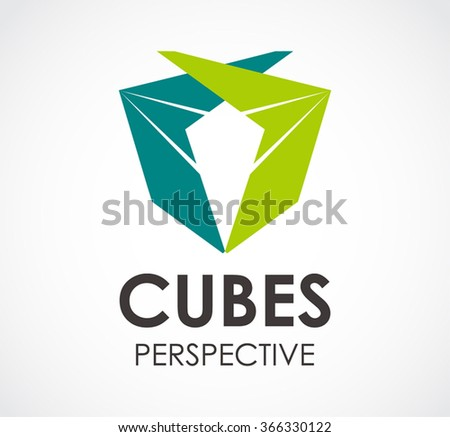Cube perspective of ribbon abstract vector and logo design or template square box business icon of company identity symbol concept - stock vector