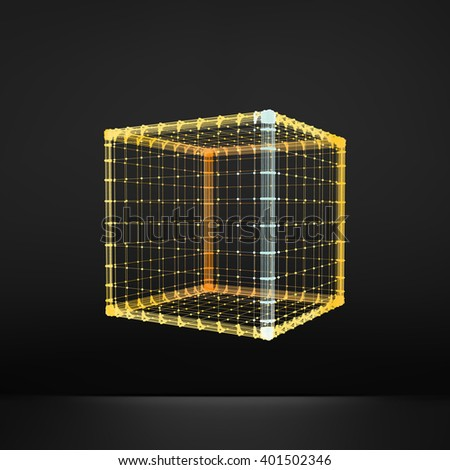 Cube. Platonic Solid. Lattice Geometric Element for Design. Wireframe Mesh Polygonal Element.  - stock vector