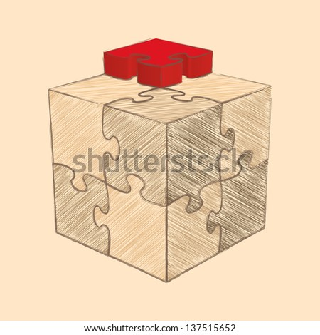 Cube Puzzle. Retro Style Sketch. Vector Illustration - stock vector