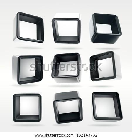 Cube square black app button box shelves in nine foreshortenings, eps10 vector design elements set - stock vector