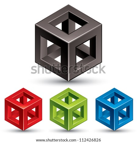 Cube vector icon. - stock vector