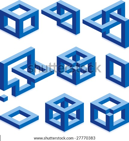 Cube vector signs for construction business - stock vector