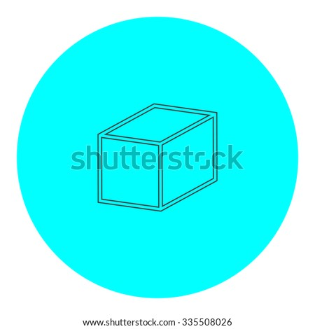 Cubes. Black outline flat icon on blue circle. Simple vector illustration pictogram on white background