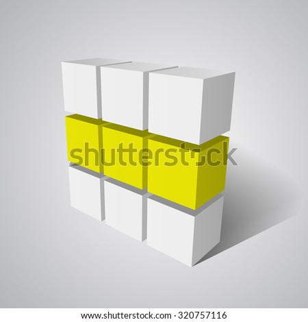 Cubes. 3D vector. White cube. Yellow cube