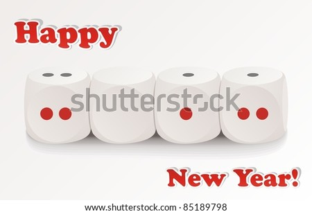 Cubes for board games are laid out abreast with value 2012 - stock vector
