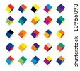 Cubes in various combinations of colors for training - stock photo