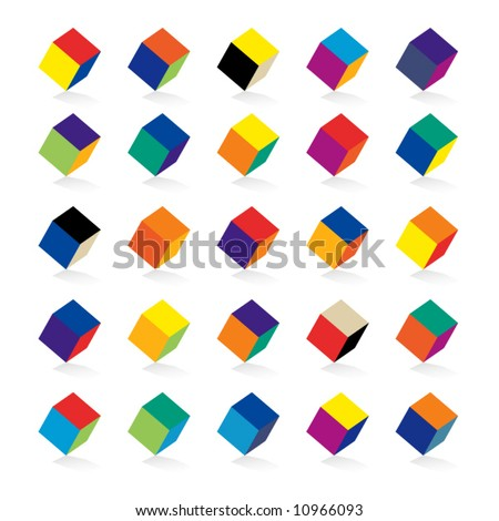 Cubes in various combinations of colors for training - stock vector