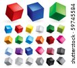 Cubes in various combinations of position for training - stock photo