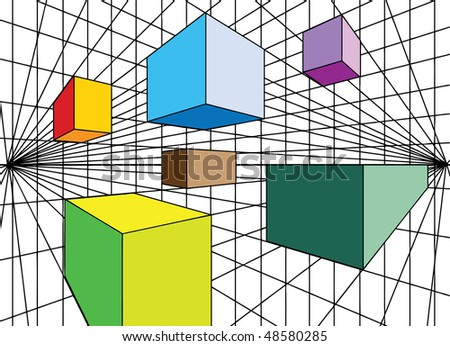 Cubes perspective - stock vector