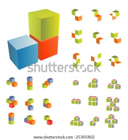 Cubes set - stock vector