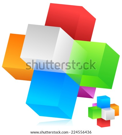 Cubes vector. Blocks forming a geometrical structure. Colorful, trendy design element, emblem. - stock vector