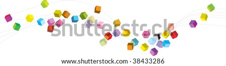 cubes wave - stock vector