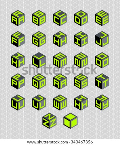 Cubic alphabet set. Vector geometric font  - stock vector