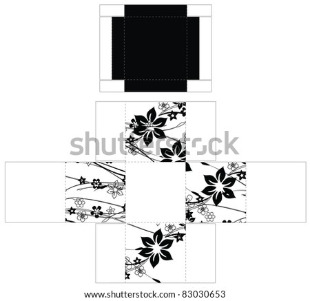 Cubic flower box template - stock vector