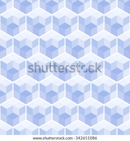 Cubic seamless Pattern. Geometric background of hexagons. Christmas background. Grid Pattern. Abstract  Background. Isometric background. Winter background. Ice Vitrage. Vector regular Texture. - stock vector