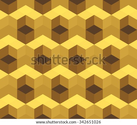 Cubic seamless Pattern. Geometric background of hexagons. Golden Christmas background. Grid Pattern. Abstract Background. Isometric background. Winter background. Vitrage. Vector regular Texture. - stock vector