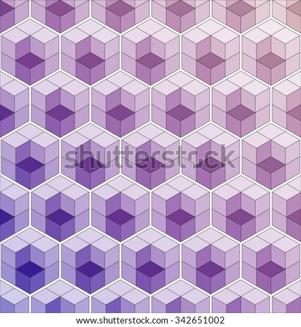 Cubic seamless Pattern. Stained-glass. Geometric background of hexagons. Christmas background. Grid Pattern. Abstract Background. Isometric background. Winter background. Vector regular Texture. - stock vector