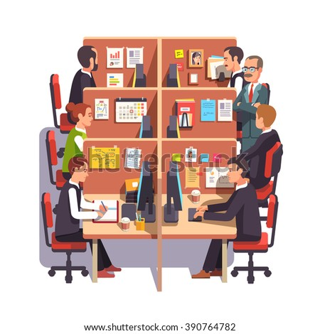 Cubicle office work space with employees at the desks and supervising boss. Flat style color modern vector illustration. - stock vector