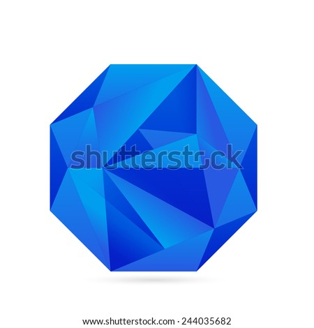 Cubism geometric business symbol in blue color - stock vector
