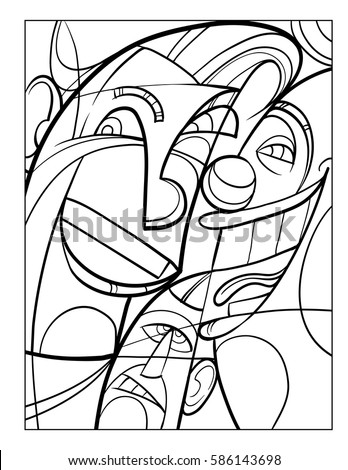 Cubist Faces Fun Coloring Page Vector Stock Vector 586143698 Coloring Pages Faces