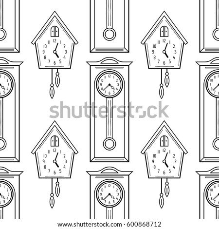 Cuckoo Clock And Grandfather Flat Linear Objects Black White Seamless Pattern For