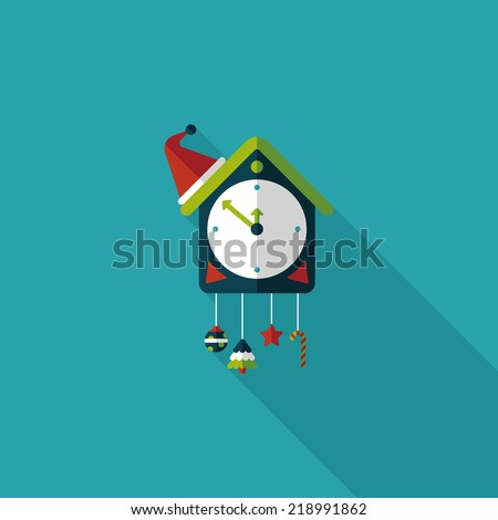 Cuckoo clock flat icon with long shadow,eps10 - stock vector
