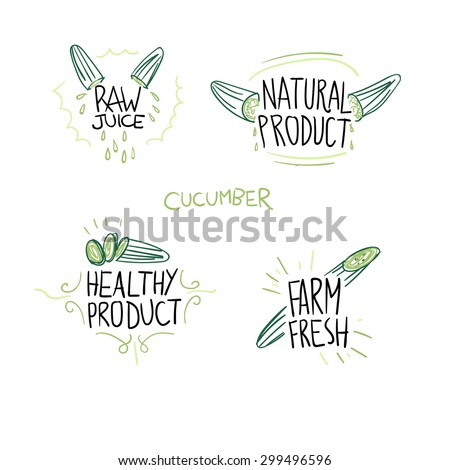 Cucumber labels modern vector set, natural and fresh food - stock vector