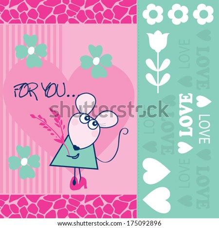 cue mouse card vector illustration - stock vector